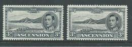Ascension 1938 KGVI Definitives 3d Grey-Black Beach Perfs 13 & 13.5 Mint - Ascension