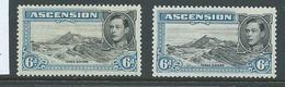 Ascension 1938 KGVI Definitives 6d Grey-blue 3 Sisters Perf 13 & 13.5 Mint - Ascension