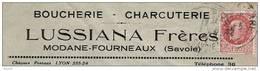 L En-tête Boucherie Charcuterie Lussiana Frères Modane -Fourneaux (Savoie) Pétain Obl. - 1941-42 Pétain