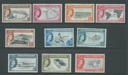 Ascension 1956 QEII Definitives Short Set Of 10 To 1 Shilling Crab MLH - Ascension