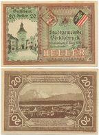 Vöcklabruck, 1 Schein Notgeld 1920, Ortsansicht, Wappen, Österreich 20 Heller - Oesterreich