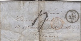 LETTRE COVER.  SUISSE. SION. 9 OCT.1863. POUR CHAROLLES FRANCE. ENTREE SUISSE AMB. M.CENID. TAXE TAMPON 4. PAR GENEVE - Svizzera