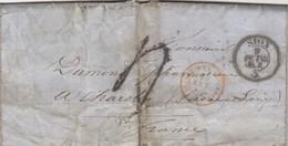 LETTRE COVER.  SUISSE. SION. 9 OCT.1863. POUR CHAROLLES FRANCE. ENTREE SUISSE AMB. M.CENID. TAXE TAMPON 4. PAR GENEVE - Suiza