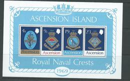 Ascension 1969 Naval Crests Miniature Sheet MNH - Ascension