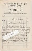 Petite Facture R. BISET / Fabrique Fromages / Camembert Brie Beurre Fin / Outrancourt Par Contrexéville / 88 Vosges - 1900 – 1949