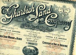 The GHARBIEH LAND COMPANY; Certificat De Part De Dividende - Afrique