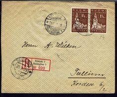 FINLANDE - 1929 - Paire N° 137 Sur Enveloppe Recommandée De Helsinki Vers Tallinn (Estonia) B/TB - - Finnland
