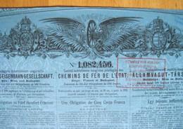 Obligation De 500 F Chemins De Fer De L'Etat Autriche-Hongrie 1885. - Chemin De Fer & Tramway