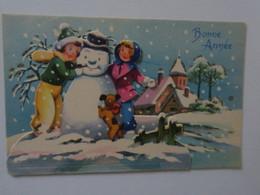 TI  - Carte à Systeme  - Petites Filles Avec Bonhomme De Neige - Nouvel An