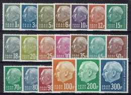 """Saar, President Heuss II (with """"F""""), 1957, MNH VF  Complete Set Of 20 - 1957-59 Federation"""