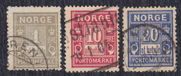 Norway (Norge) 3 Porto Stamps, Used (o) - Port Dû (Taxe)