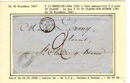Jura : T 15 MOREZ DU JURA + Taxe Manuscrite 2d Sur LSC En 1847 - Marcophilie (Lettres)