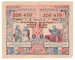 """WW2  1941 Pour Les Prisonniers Des Amitiés Africaines 2 Volets A Et B  Pub """"bébé Sport - Billets De Loterie"""