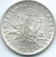 France - 3rd Republic - 1914 C - 2 Francs - KM845.2 - Castelsarrasin Mint - I. 2 Francs