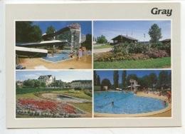 Gray Station Verte  : La Piscine, L'entrée Du Camping, L'ile Sauzay (cp Vierge Multivues N°0018) - Gray