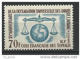 """Cote Somalis YT 318 """" Droits De L'Homme """" 1963 Neuf** - Ungebraucht"""