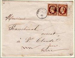 Jura : T 15 MOREZ DU JURA + GC 2535  Sur YT N° 23x 2  Sur LSC En 1863 - Marcofilie (Brieven)
