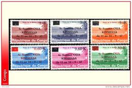 Congo 0646/51 **  O U A   Palais Des Nations Surcharges  MNH - République Démocratique Du Congo (1964-71)