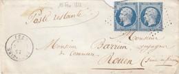 LETTRE. 15 FEVR 1855. DEUX-SEVRES. BRESSUIRE PC 510. 2° ECHELON POUR ROUEN - Postmark Collection (Covers)