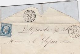 LETTRE.  18 SEPT 1854. BDF. RHONE COURS PC 997 POUR VILLEFRANCHE S SAONE - 1849-1876: Classic Period