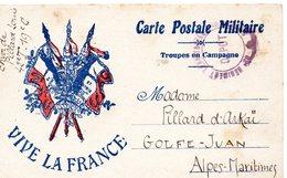 CP- 3 Drapeaux-Troupes En Campagne- - Marcophilie (Lettres)