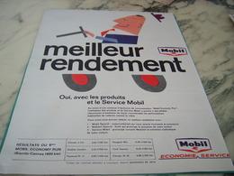 ANCIENNE PUBLICITE MEILLEUR RENDEMENT  MOBIL 1962 - Transports