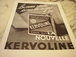 ANCIENNE PUBLICITE BONNE ROUTE  HUILE KERVOLINE 1932 - Transports