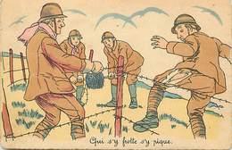 -ref-B543- Militaria - Illustrateurs - Illustrateur - Humoristiques - Qui S Y Frotte ..- Barbelés - Guerre 1939-45 - - Humoristiques