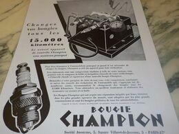 ANCIENNE AFFICHE  PUBLICITE LA BOUGIE CHAMPION 1932 - Transports