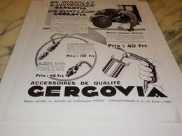 ANCIENNE PUBLICITE GONFLEUR GERGOVIA 1932 - Transports
