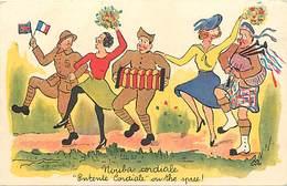 -ref-B542- Militaria - Illustrateurs - Illustrateur - Humoristiques - Entente Cordiale ..- Highlander - Militaires - - Humoristiques