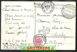 Ansicht LUZERN Und Der Pilatus Versanden 1910 Nach Belgien Mit Nachportomarke TX 5 Abstemplung CHATELINEAU. - Strafportzegels