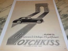 ANCIENNE PUBLICITE VOITURE ANJOU 52 DE  HOTCHKISS  1951 - Voitures