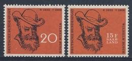 1958 Joint / Gemeinschaftsausgabe Germany - Saarland * MH - Wilhelm Busch, Writer, Illustrator/ Maler, Zeichner, Dichter - Gezamelijke Uitgaven