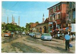 TURKEY/TURQUIE - EDIRNE - SELIMIYE MOSQUE - KAPIKULE ROAD / OLD CARS / VW KAFER-FORD CORTINA/CANCEL HILTON ISTANBUL 1970 - Turchia