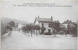 CPA - MORTEAU - GARE DU CHEMIN DE FER REGIONAL ET AVENUE DE LA GARE - 1916 - France