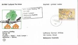 30988. Carta Aerea First Flight Boeing 747 KUALA LUMPUR (Malasia) 1982 To Melbourne - Malasia (1964-...)