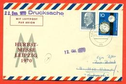 GDR 1970. The Envelope Passed Mail. Airmail. - Clocks