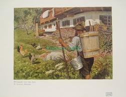 188-4 Schacht: Rückkehr Alm Bauernhof Bauer Farbdruck 1907!! - Decretos & Leyes