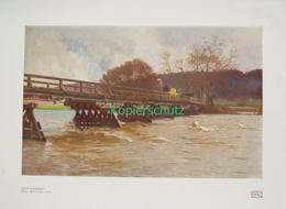 185 Strützel: Isarhochwasser Isarbücke Farbdruck 1913!!! - Drucke