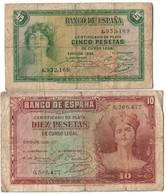 Spain Lot Set 5 & 10 Pesetas 1935 - [ 2] 1931-1936 : Repubblica