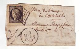 2AB N°3 PETITE LETTRE 1 PETIT TROU RAZ DU TIMBRE VOIR SCANS - 1849-1850 Cérès