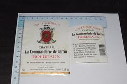 Château La Commanderie De Bertin 1993 MM. Tourné Bourdeaux + Code Barre Gaston Lacaze - Bordeaux