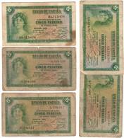 Spain Lot 5 Banknotes 5 Pesetas 1935 - [ 2] 1931-1936 : Republic