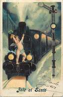 -ref-B530bis - Illustrateurs - Illustrateur - Angelot Et Train - Angelots - Trains - Carte Bon Etat - - 1900-1949