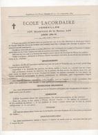 1889 - PROSPECTUS & TARIFS POUR L'ECOLE LACORDAIRE VERSAILLES BOULEVARD DE LA REINE - - Advertising