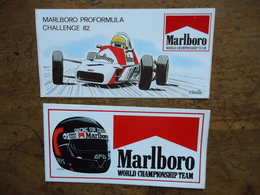 2 X STICKER / AUTOCOLLANT MARLBORO TEAM - Dessinateur CLOVIS - DIDIER THEYS & PROFORMULA CHALLENGE 1982 - Voitures (Courses)