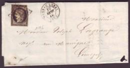 HAUTE VIENNE - LAC - Tàd T15 MAGNAC LAVAL + Grille Sur N° 3 (20c Noir Cérès) Pour Limoges (81) - 1849-1876: Periodo Classico