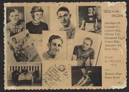 """TOUR DE FRANCE 1935 * BEDANKINGEN * COUREURS * PRODUITS """" CHAMPION """" * LAB. """" UNICA """" BRUGES * 2 SCANS - Cyclisme"""