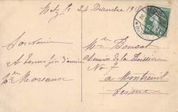 D-19-154 : CARTE POSTALE CACHET MANUEL ALLEMAND BECHINGEN METZ SUR TIMBRE FRANCAIS SEMEUSE 5 CENTIMES. 26-12-18 - Postmark Collection (Covers)